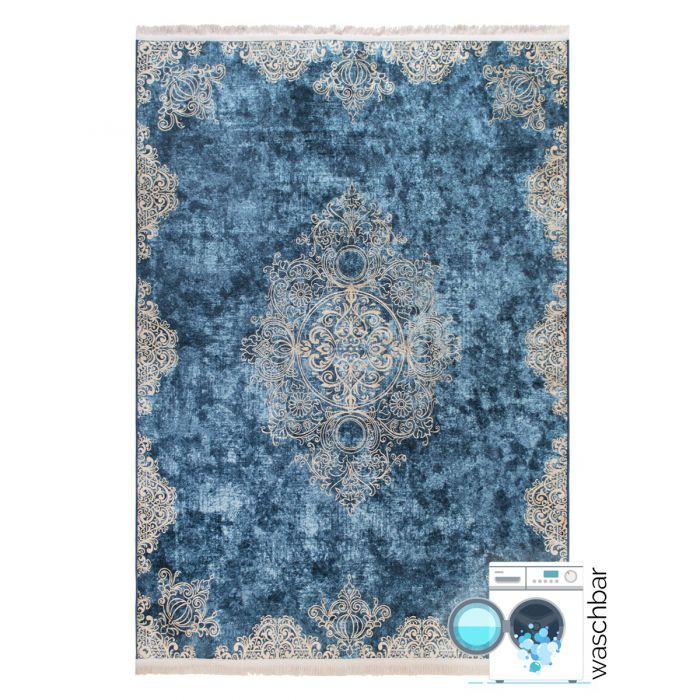 Abstrakte Muster Antibakteriell Waschbarer Teppich Blau Gold | Vintage Muster mit Melierung | MY2820