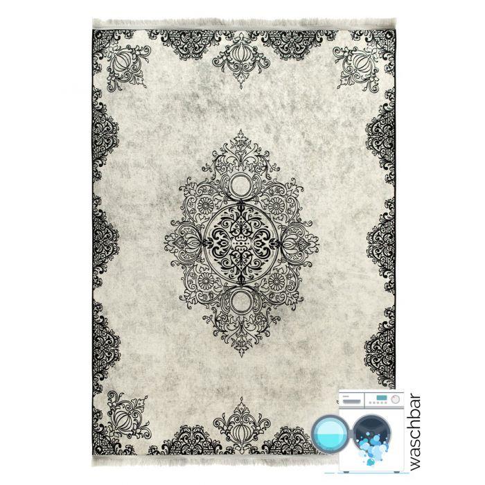 Waschbarer Teppich Schwarz | Vintage Muster mit Melierung | MY2821 Caimaz-2821-Black Aktuelle Trends Waschbare Teppiche