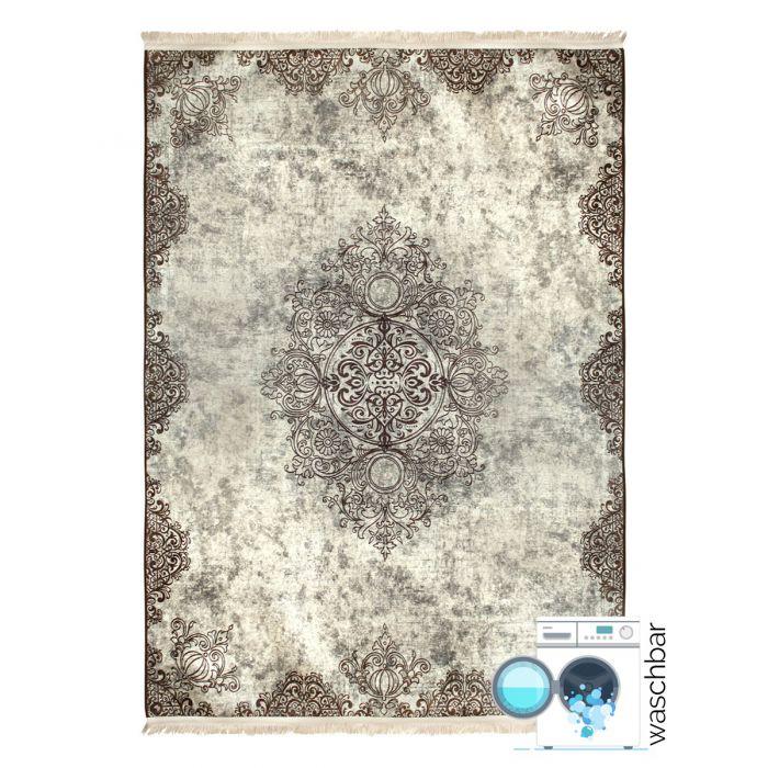 Waschbarer Teppich Beige | Vintage Muster mit Melierung | MY2822 Caimaz-2822-Cream Aktuelle Trends Waschbare Teppiche