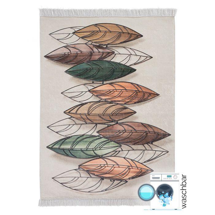 Waschbarer Teppich Antibakteriell Feder Pastel Tropenmuster M2950