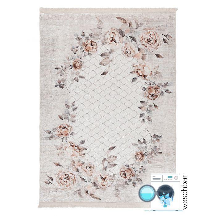 Waschbarer Teppich Antibakteriell Blumenmuster Beige M2970V