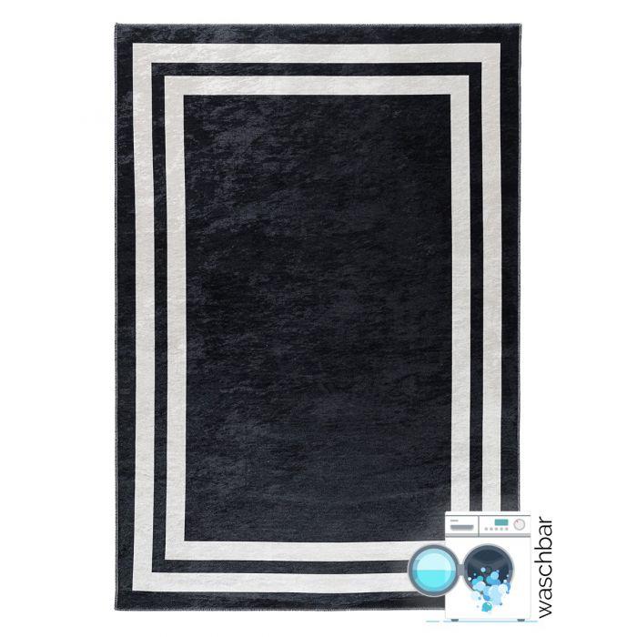 Waschbarer Teppich Antibakteriell Schwarz Bordüren Meliertes Design 2971