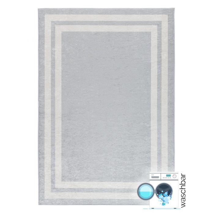 Waschbarer Teppich Antibakteriell Grau Bordüren Design 2972