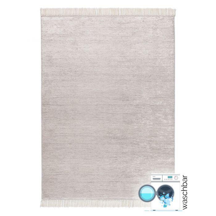 Waschbarer Teppich Antibakteriell Uni Farbe Cream 2975