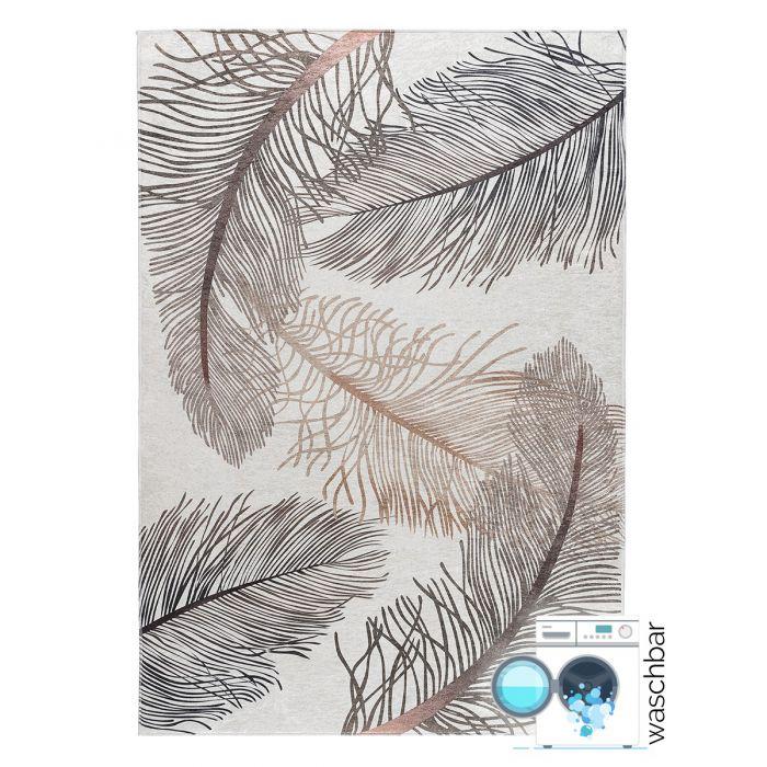 Waschbarer Teppich Antibakteriell Modernes Florales Design 2985