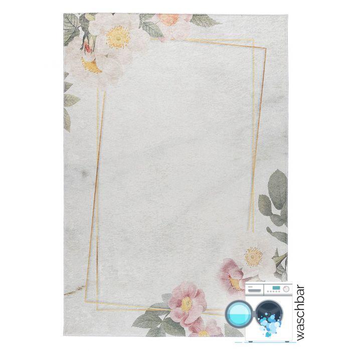 Waschbarer Teppich Antibakteriell Beige Florales Design 2991