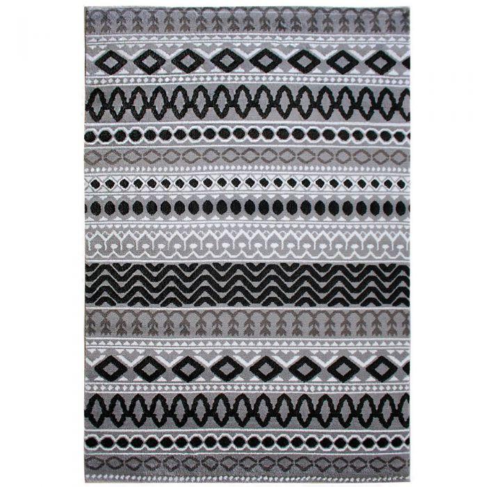 Teppich Kurzflor Schwarz Grau Boho Boheme Muster M312S