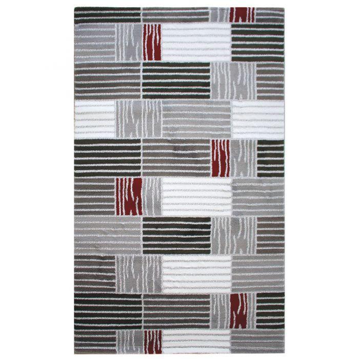 Teppich Kurzflor Rot Grau | Design Karo Gestreift | MY315K Lena-315-Rot Alle Artikel