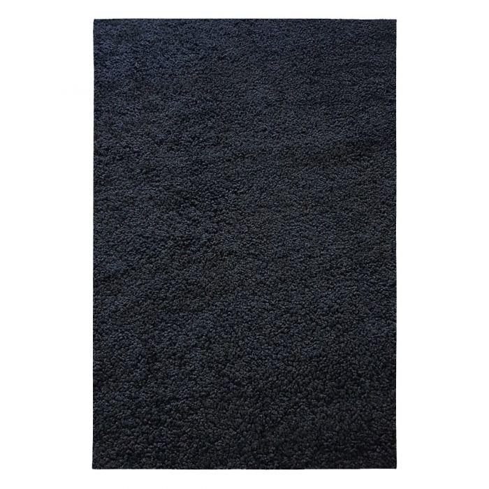 200x200 cm Rund Shaggy Hochflor Teppich Schwarz Einfarbig Uni MY380 30 mm