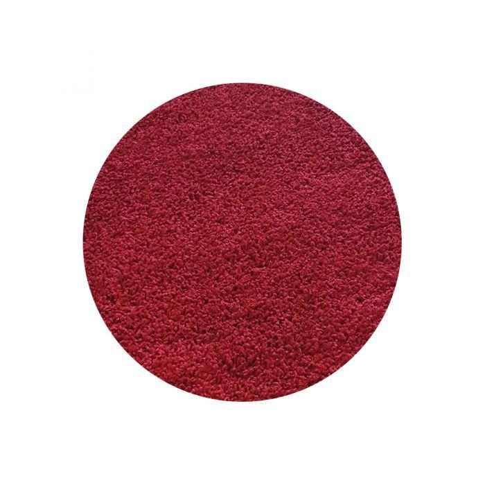 120x120 cm Rund Shaggy Hochflor Teppich Rot Einfarbig Uni MY380 30 mm