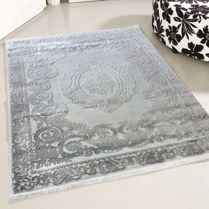 80x300 cm Designer Teppich Grau Moderne Medaillon Muster MY4204HG