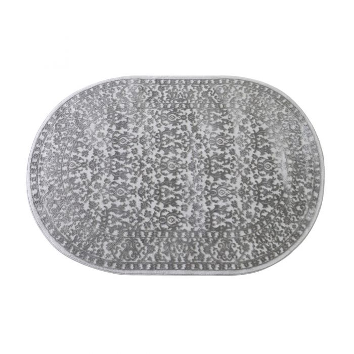 120x170 cm Oval Designer Teppich Grau Vintage Design Gemustert MY4213G
