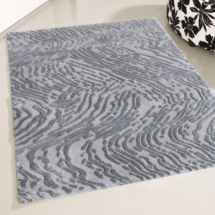 Designer Teppich Kurzflor Grau Strukturiertes 3D Design M4216HG