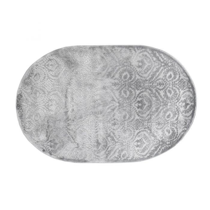 120x170 cm Oval Designer Teppich Grau Ornament Design MY4243G
