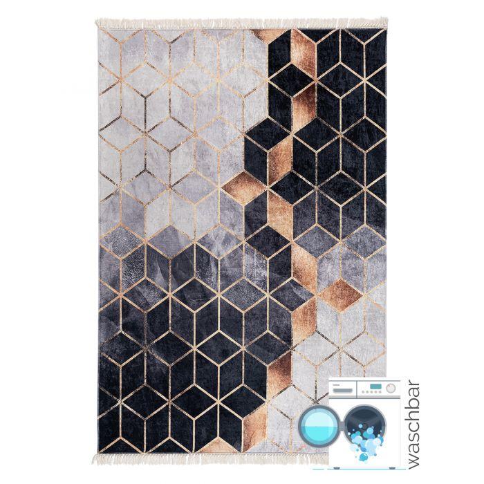Waschbarer Teppich in Schwarz Gold | Geometrische Muster | MY5400 CAIMAS-5400 Aktuelle Trends Waschbare Teppiche