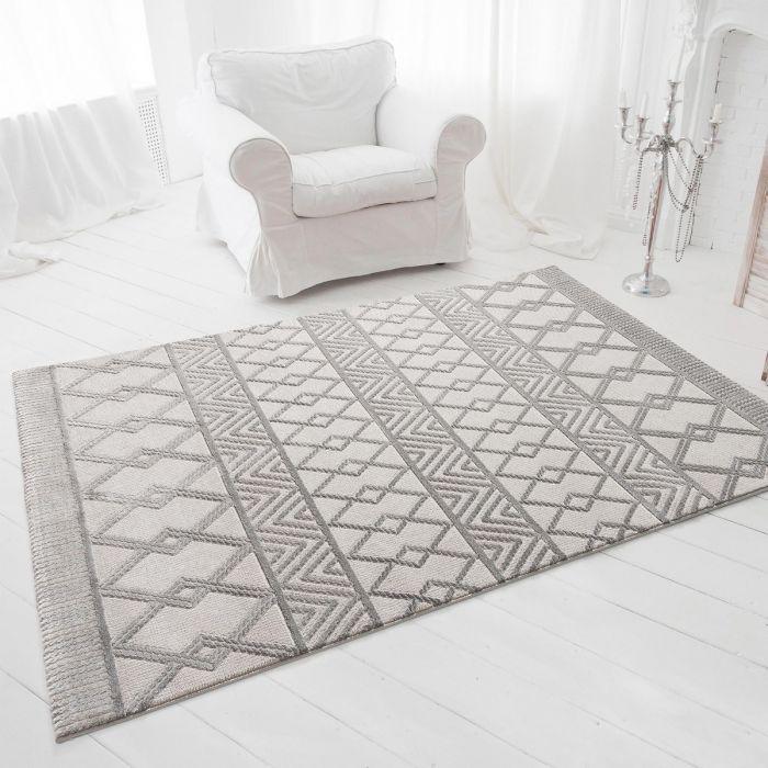Aktuelle Trends-Jetzt Teppich vorbestellen Designer Teppich 3D Skandi Illusion in Grau | MY6200S