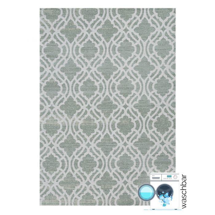 Kurzflorteppich mit Baumwolle | Abstrakt Geo Eis Grün | MY6900 CARINA 6900 Aktuelle Trends Waschbare Teppiche