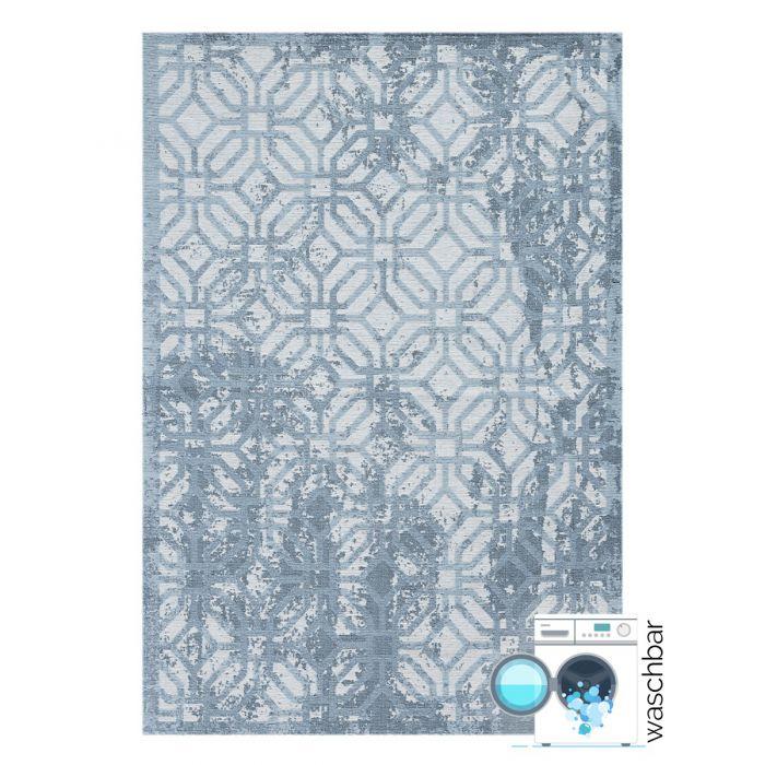 Antibakteriell Baumwolle Teppich Waschbar | Modern Geo Eis Blau | MY6931