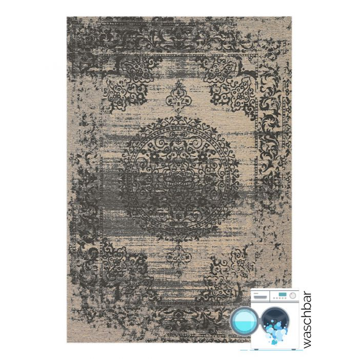 Waschbarer Teppich Baumwolle Barock Antik Grau M6940