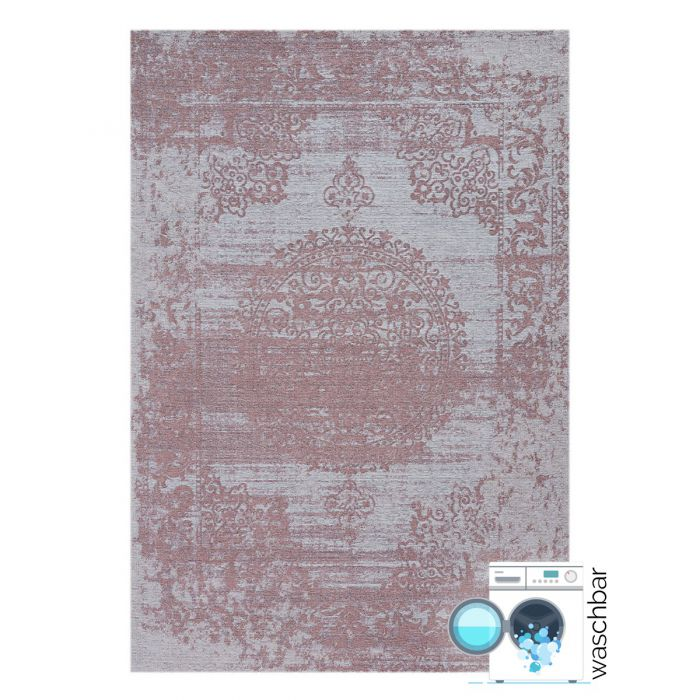 Waschbarer Teppich Baumwolle Barock Antik Rosa M6941