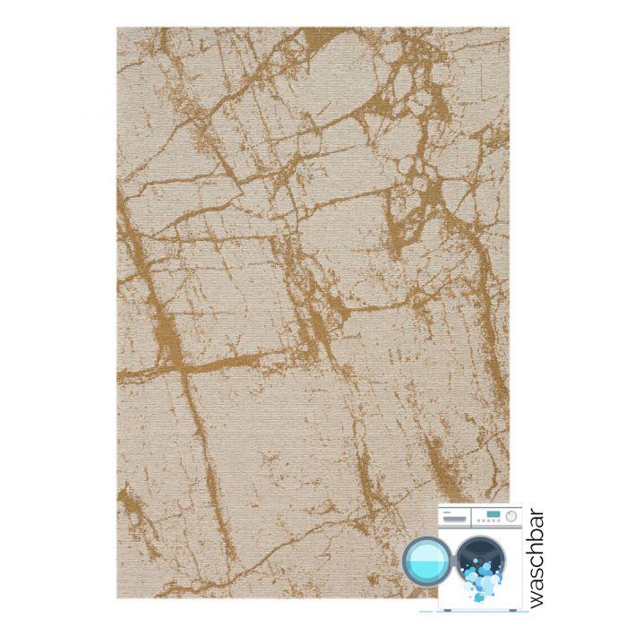 Waschbarer Teppich Baumwolle Abstrakt Marmor Look Gelb M6950