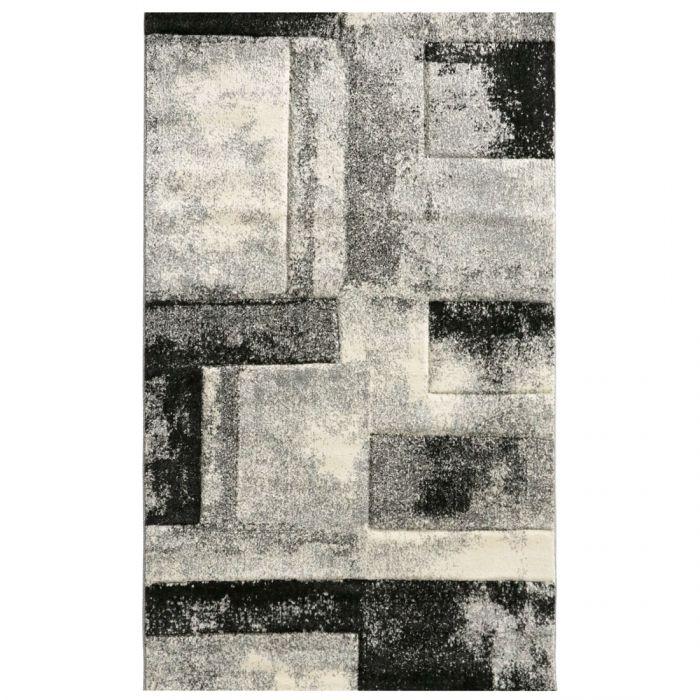 Wohnzimmer Teppich Grau Design Marmor Meliert M7432