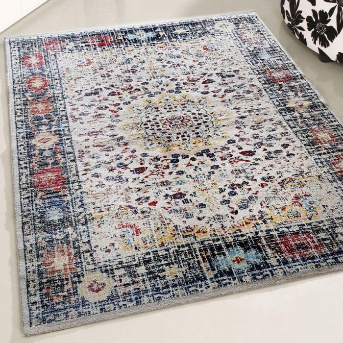 Ornament Teppich Vintage Blau   Kurzflor Bordüre Design MY7710 Rustik-7710-Red Schlafzimmer