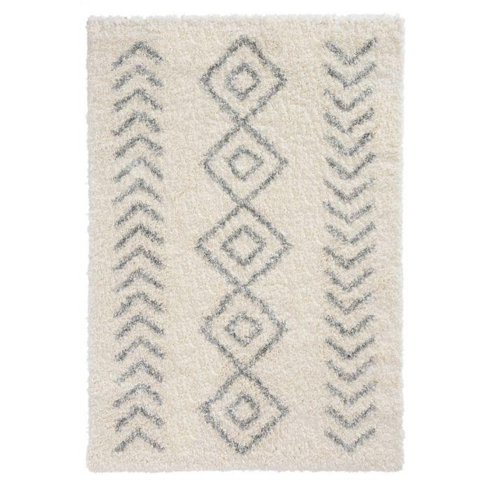 Ethno Kurzflor Shaggy Teppich | Boho Weiss 30 mm | MY8685GC ETHNO 8685 GREY/CREAM Vintage Patchwork Muster