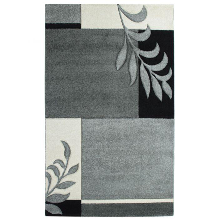 Kurzflor Wohnzimmerteppich Grau Weiß gecarvte florale Designs M930G