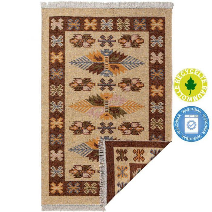 Waschbarer Teppich als Vintage Kilim | MY9910O Tulum-9910-orange Teppich aus Baumwolle