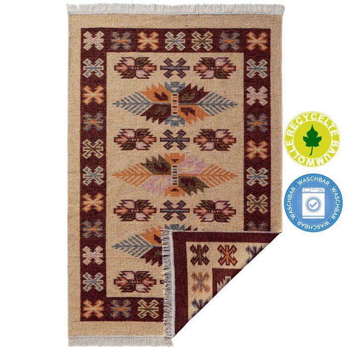 Waschbarer Teppich als Vintage Kilim | MY9910K Tulum-9910-rot Teppich aus Baumwolle