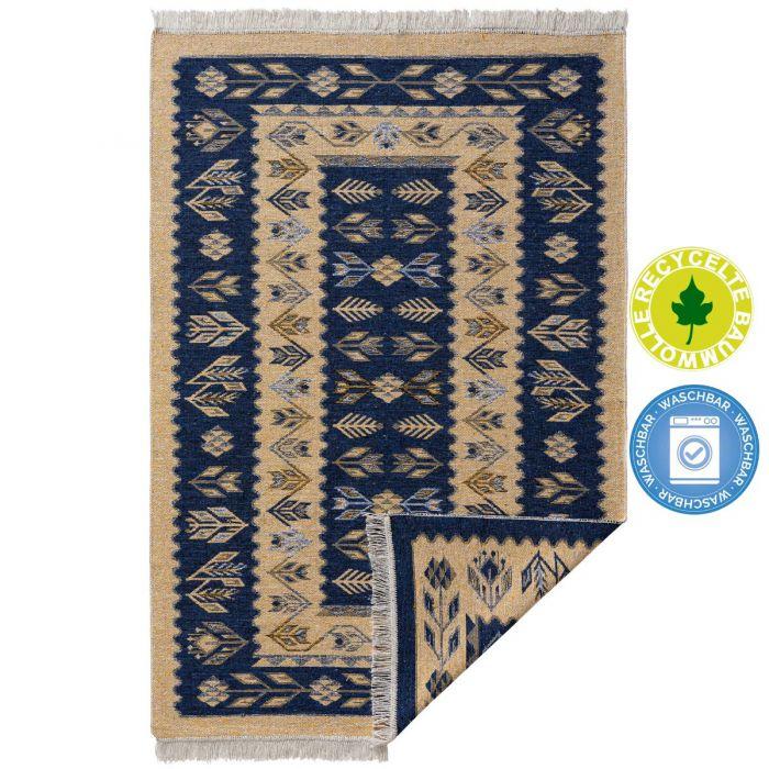 Waschbarer Teppich als Vintage Kilim | MY9920M Tulum-9920-blau Teppich aus Baumwolle
