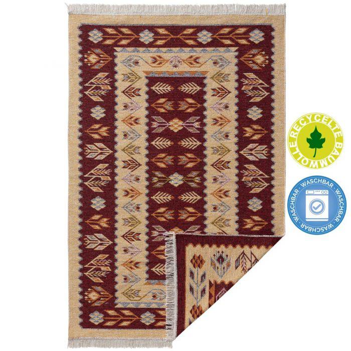 Waschbarer Teppich als Vintage Kilim | MY9920K Tulum-9920-rot Teppich aus Baumwolle