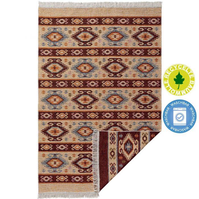 Waschbarer Teppich als Vintage Kilim | MY9930K Tulum-9930-rot Teppich aus Baumwolle