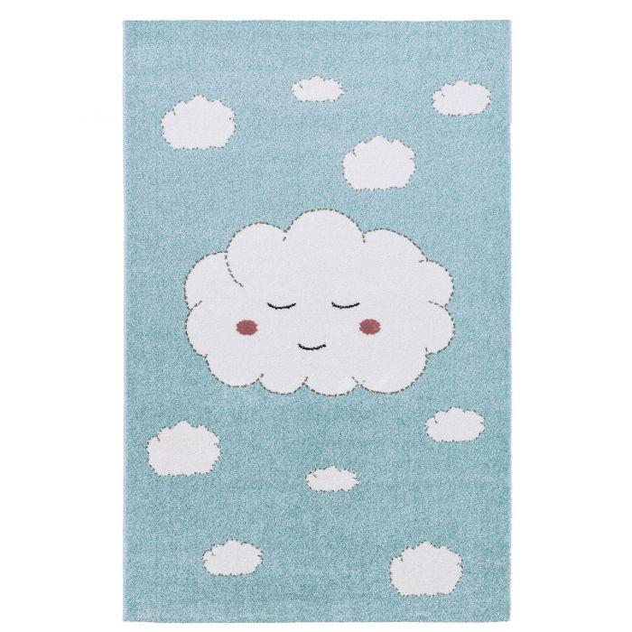 Kurzflor Kinderzimmerteppich Blau Weiße Wolken C001