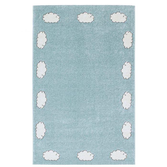 Kurzflor Kinderzimmerteppich Weiss Blaue Wolken C002