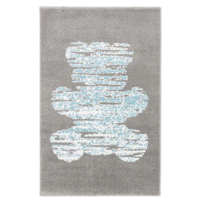 Kurzflor Kinderzimmerteppich Grau Blau Bären Motiv C004
