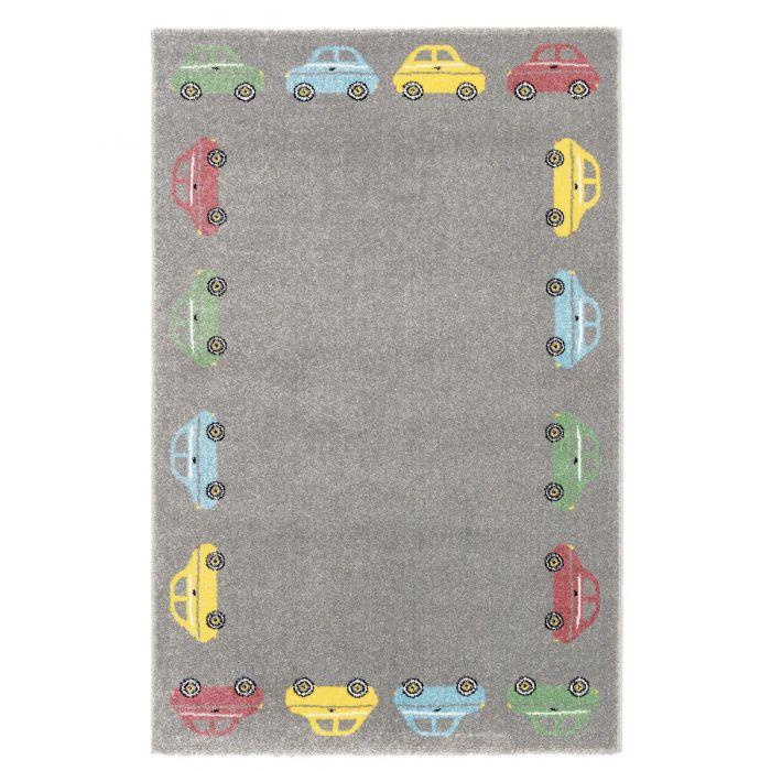 Kurzflor Kinderzimmerteppich Grau mit Automuster Spielteppich C006