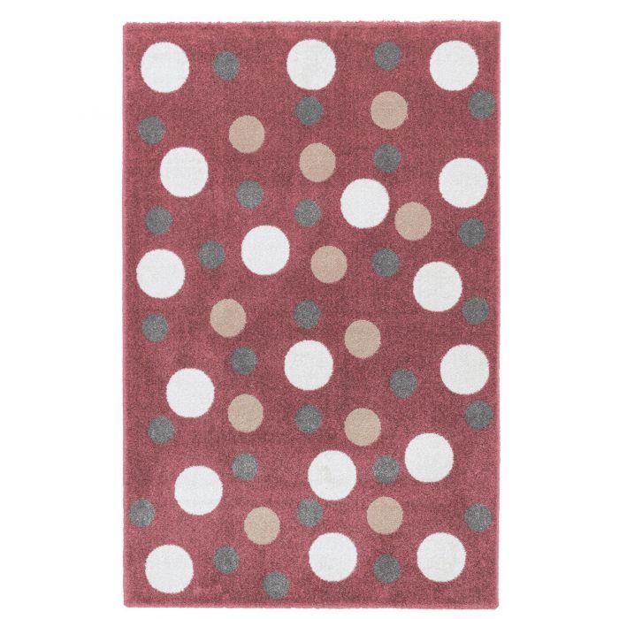 Kurzflor Kinderzimmerteppich Rot Kreis Motive Spielteppich C008