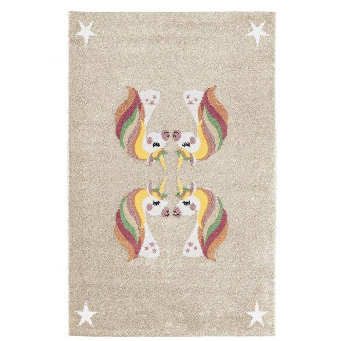 Kurzflor Kinderzimmerteppich Cream Einhorn Motiv Spielteppich C009