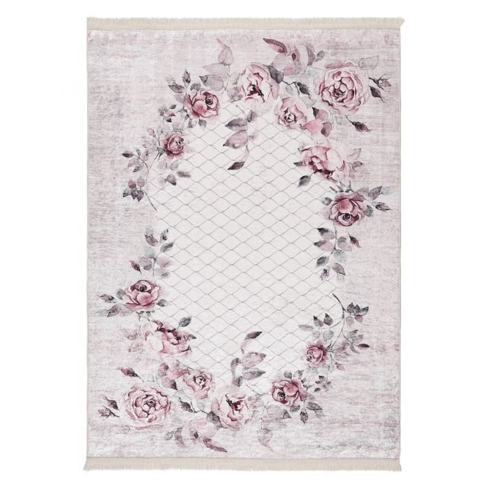 Waschbarer Teppich Antibakteriell Lila Floral Blumen Landhausstil M2995