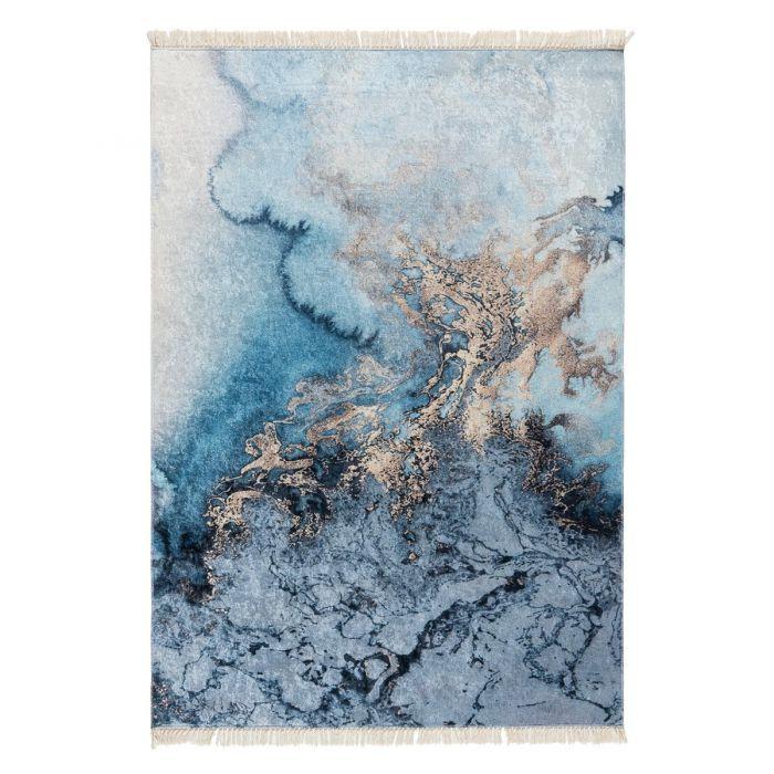 Waschbarer Teppich Antibakteriell Blau Abstraktes Motiv M6000
