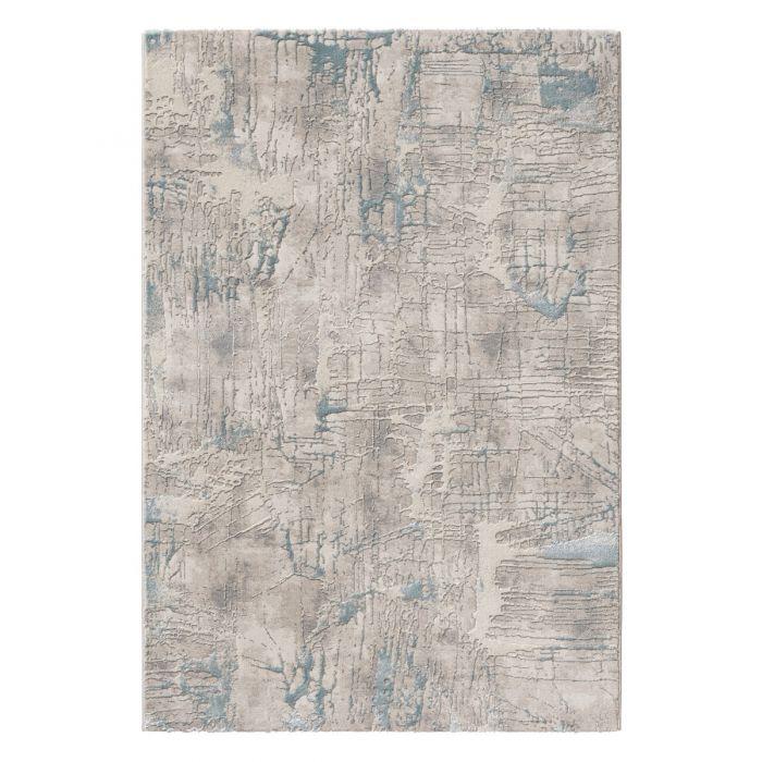 Vintage Patchwork Muster Designer Teppich Abstrakt in Blau Grau | MY6630M