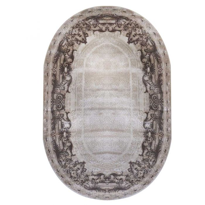 120x170 cm Oval Designer Teppich Beige Ornament Bordure Design MY4190
