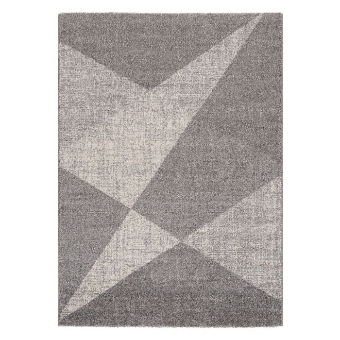 Kurzflor Teppich Grau Meliert Muster Geometrisch M7479S