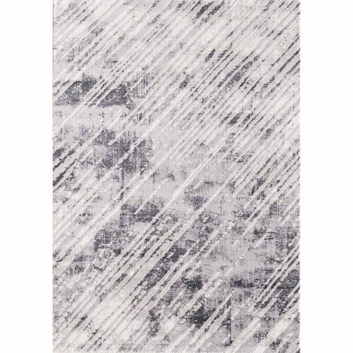 Kurzflor Teppich Grau mit melierten Linien M3208