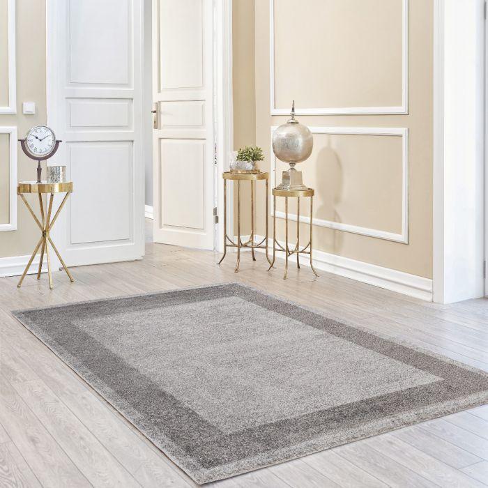 160x230 cm Kurzflor Teppich Grau Meliert Muster Bordüre Umrandung MY7437S