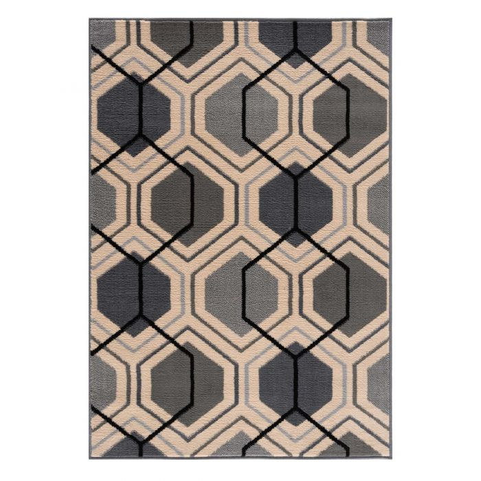Kurzflor Teppich Pastel Grau Geo Look 1193S