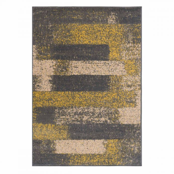 Kurzflor Teppich Gelb Grau Pastel Abstrakt Meliert 3197Y