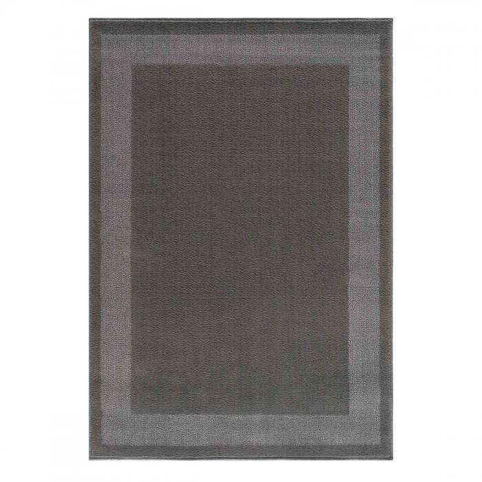 Kurzflor Teppich Grau Pastel Umrandete Bordüre 3231S
